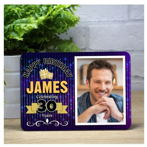 Personalised Happy Birthday Bokeh Wood Photo Panel F6 - Any Age